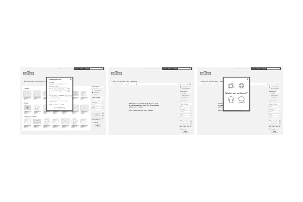 Wireframes Showing How to Create a New Event Board