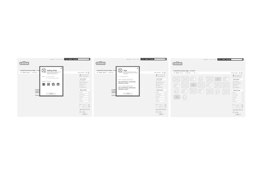 Wireframes Showing How to add Media to an Event Board.