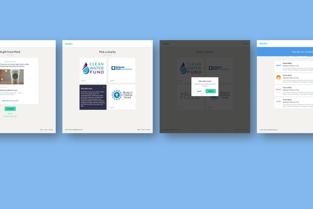 Some final UI screens of the Thnks web app.