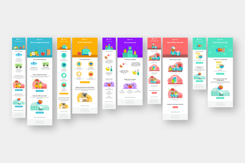 The UI for the welcome series emails continued the fun illustrations MobiSave was known for with a sprinkling of short animations.