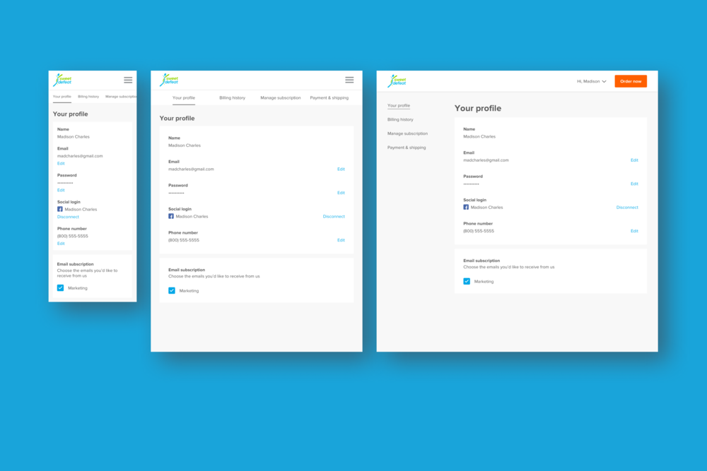UI for the member dashboard at various device sizes.