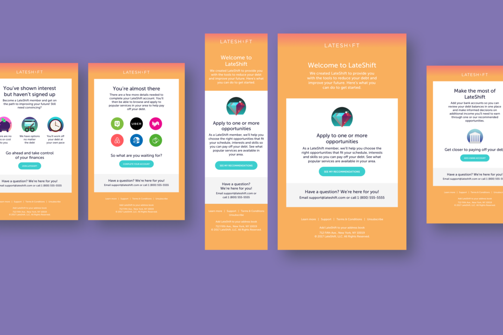 Email design for new and potential Lateshift users.