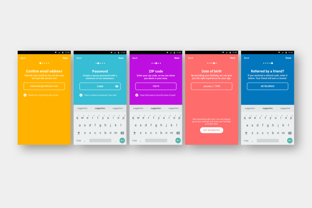 UI for the improved sign up flow