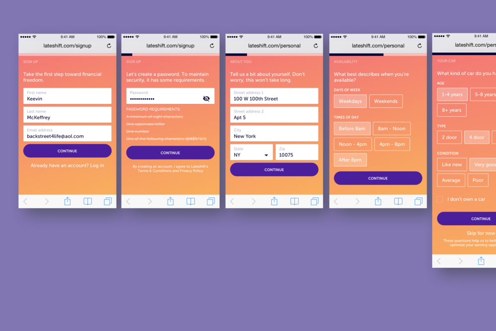 Key screens of the sign up process that would be used to display relevant opportunities to the user.