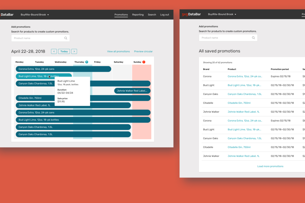 UI for the retail portal