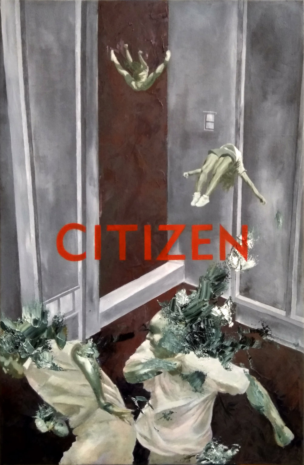 CITIZEN-1   Oil, graphite, ballpoint pen on Permatex Blue Drape
