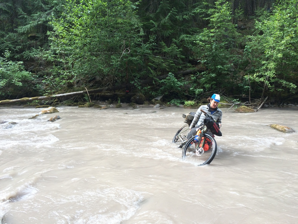 Kim crossing the literally White River. Photo by Krissy.