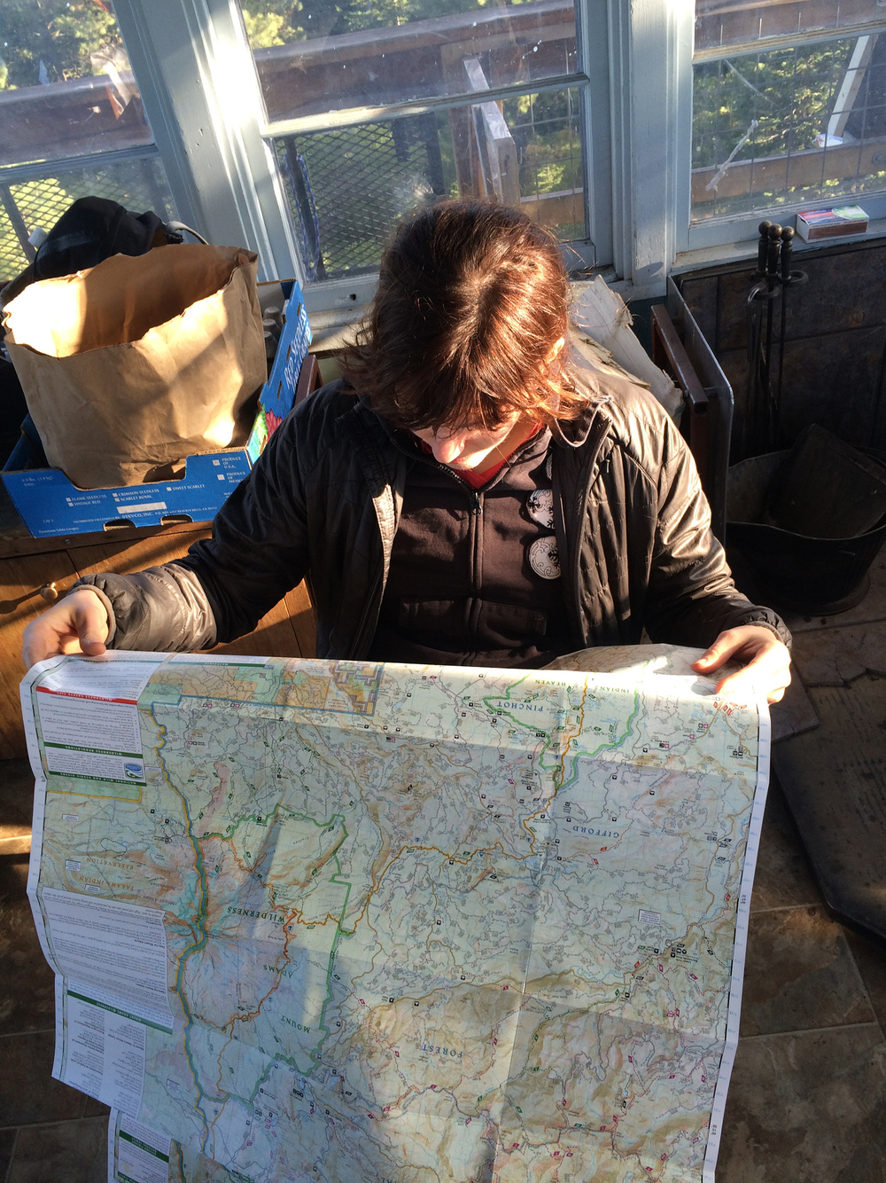 I spent a lot of time staring at maps. Photo by Krissy.