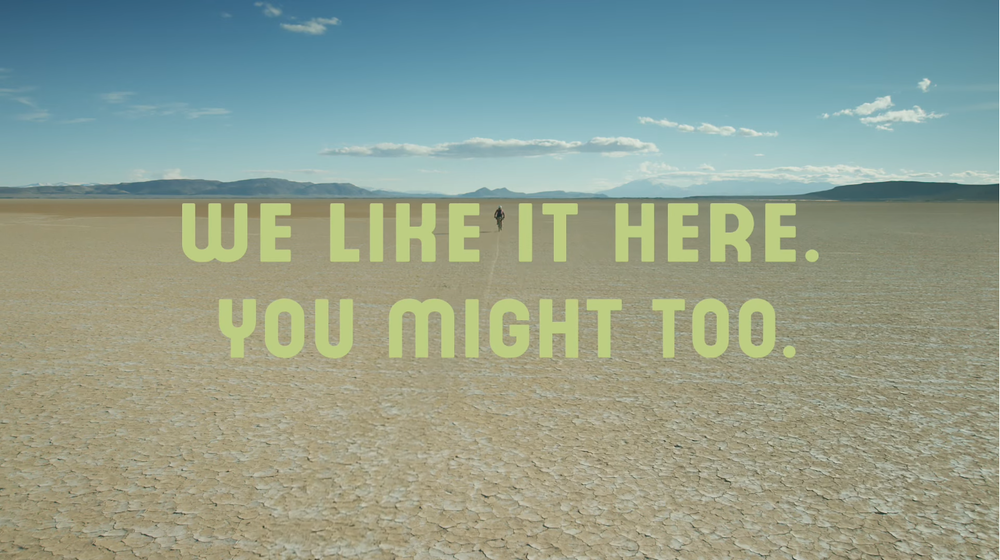 Screenshot from the Alvord Desert video from Travel Oregon