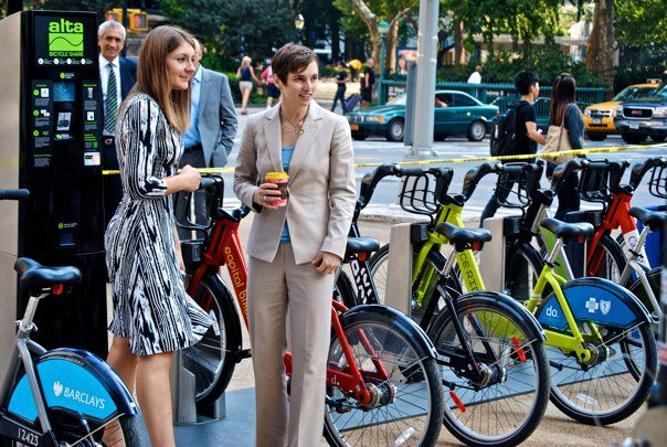 With Alta Bicycle Share President Alison Cohen at the official announcement that Alta had been selected to launch bike share in New York City.