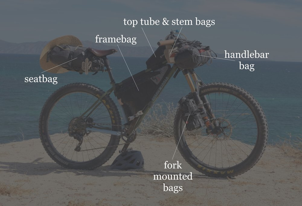 "Bikepacking bags and their placement on a hardtail mountain bike with 3"" wide tires."