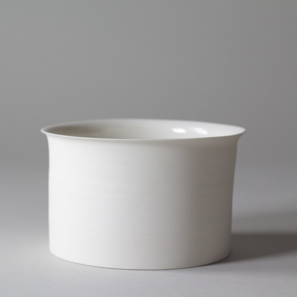 Porcelain ceramic white serving bowl by Lilith Rockett, Portland, Oregon