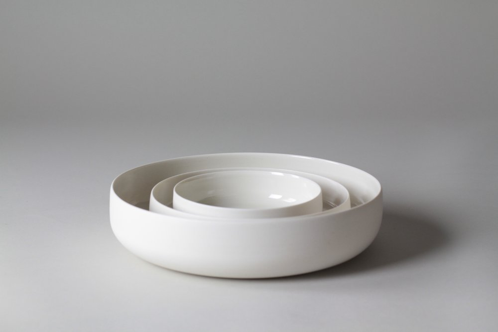 Porcelain ceramic bowls by Lilith Rockett, Portland, Oregon