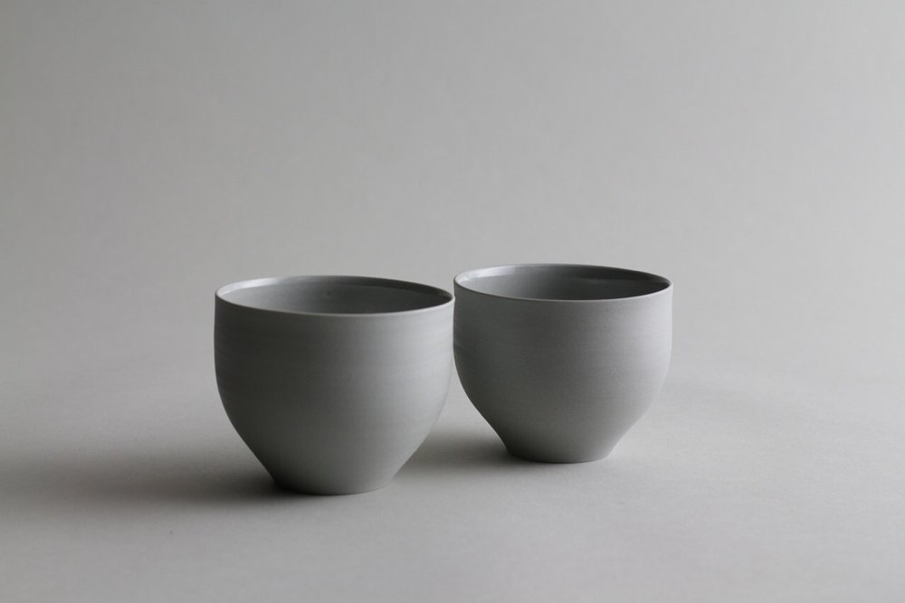 Grey ceramic tea cups made by Lilith Rockett, Portland, Oregon