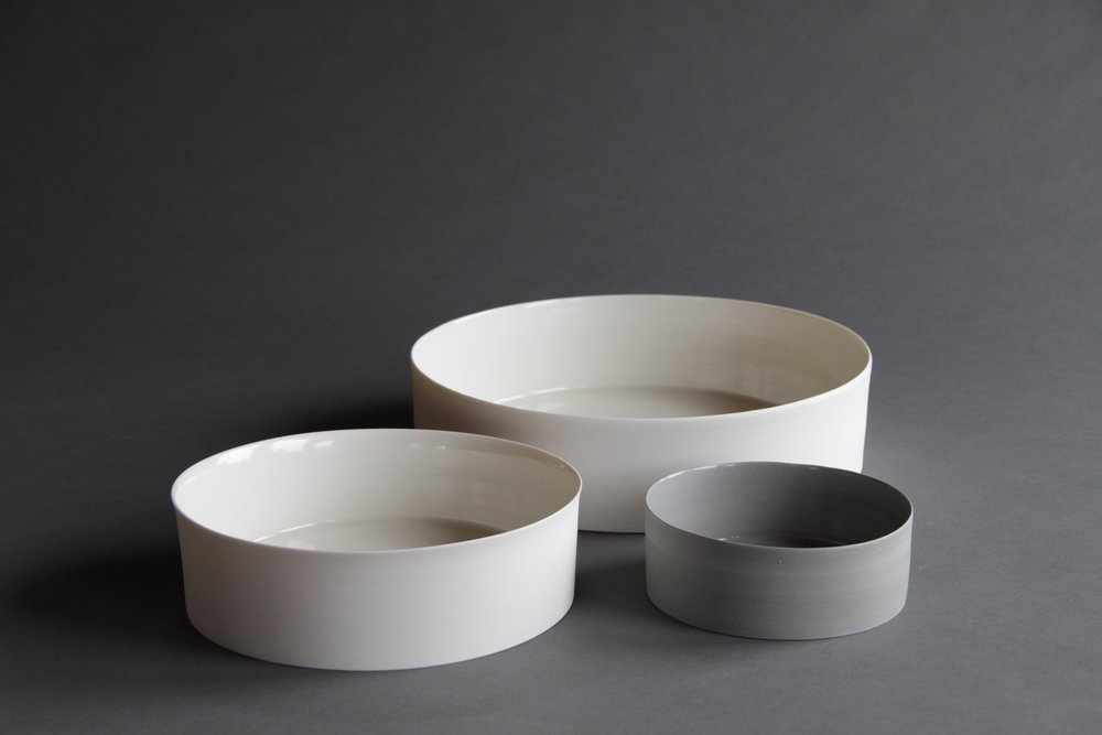 Porcelain ceramic white and grey bowls by Lilith Rockett, Portland, Oregon