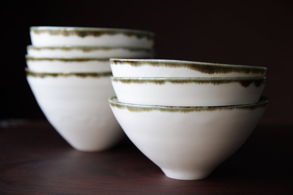 Porcelain ceramic white bowls by Lilith Rockett, Portland, Oregon