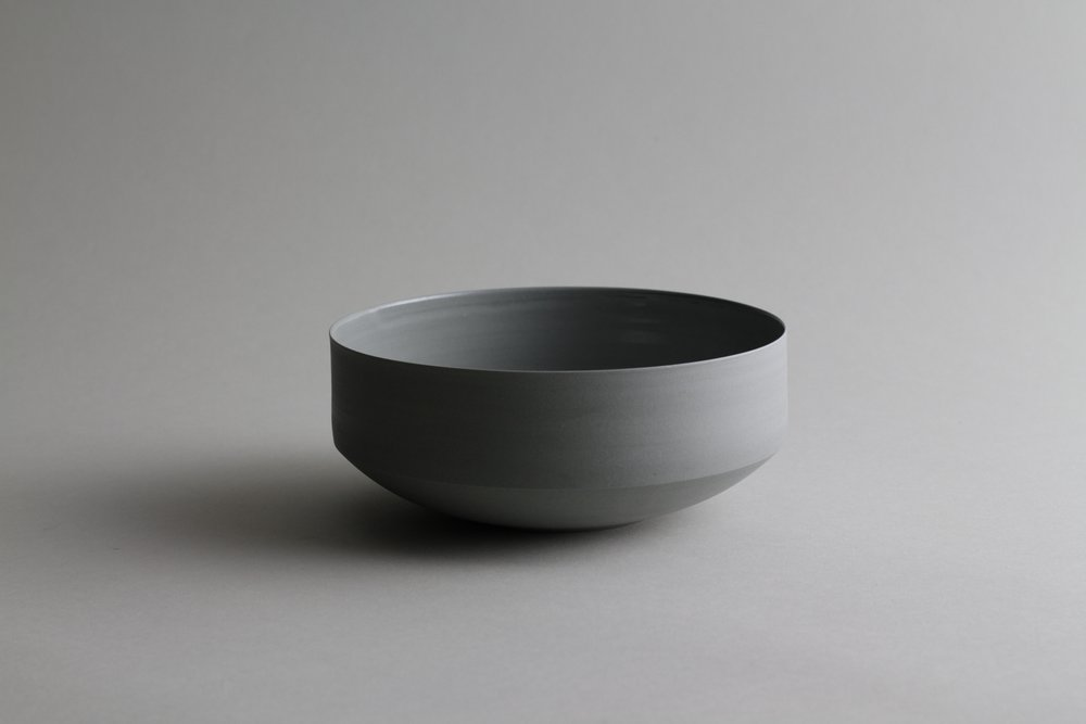 Porcelain ceramic grey bowl by Lilith Rockett, Portland, Oregon