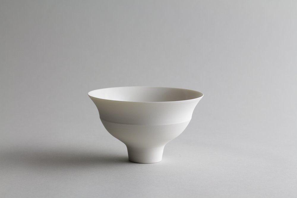 Porcelain ceramic white bowl by Lilith Rockett, Portland, Oregon