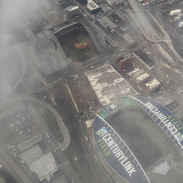 Cool shot of Safeco and Century link fields from over Seattle this morning.