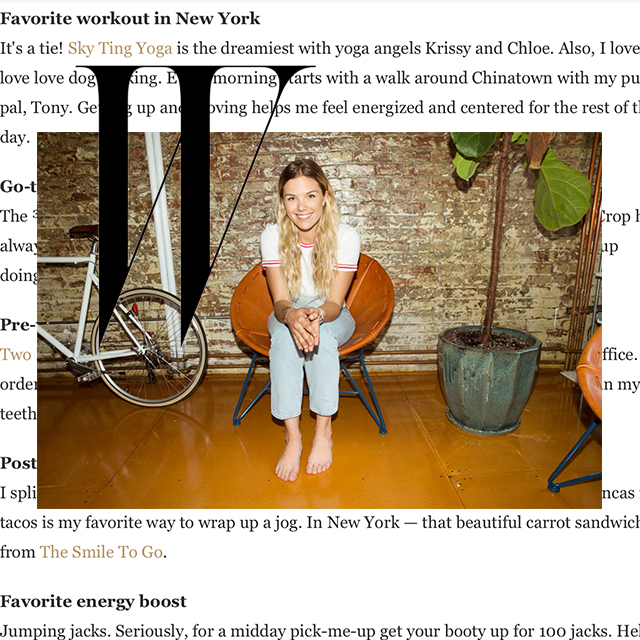 "W Magazine, ""SKY TING YOGA is the dreamiest with yoga angels Krissy & Chloe."""