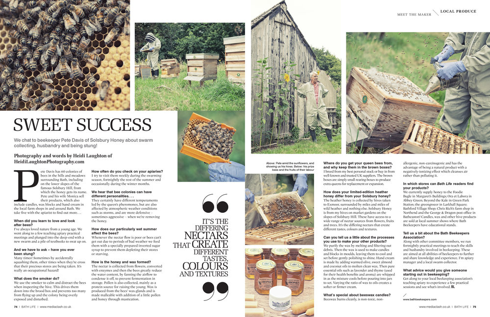 Solsbury Honey for BathLife Magazine