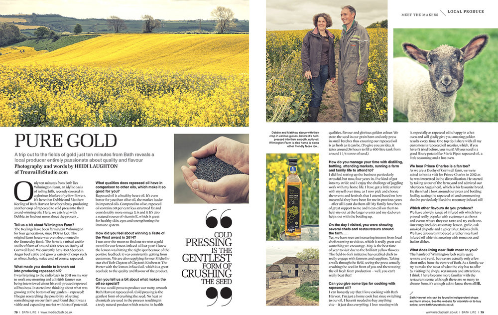 Rapeseed Oil for BathLife magazine