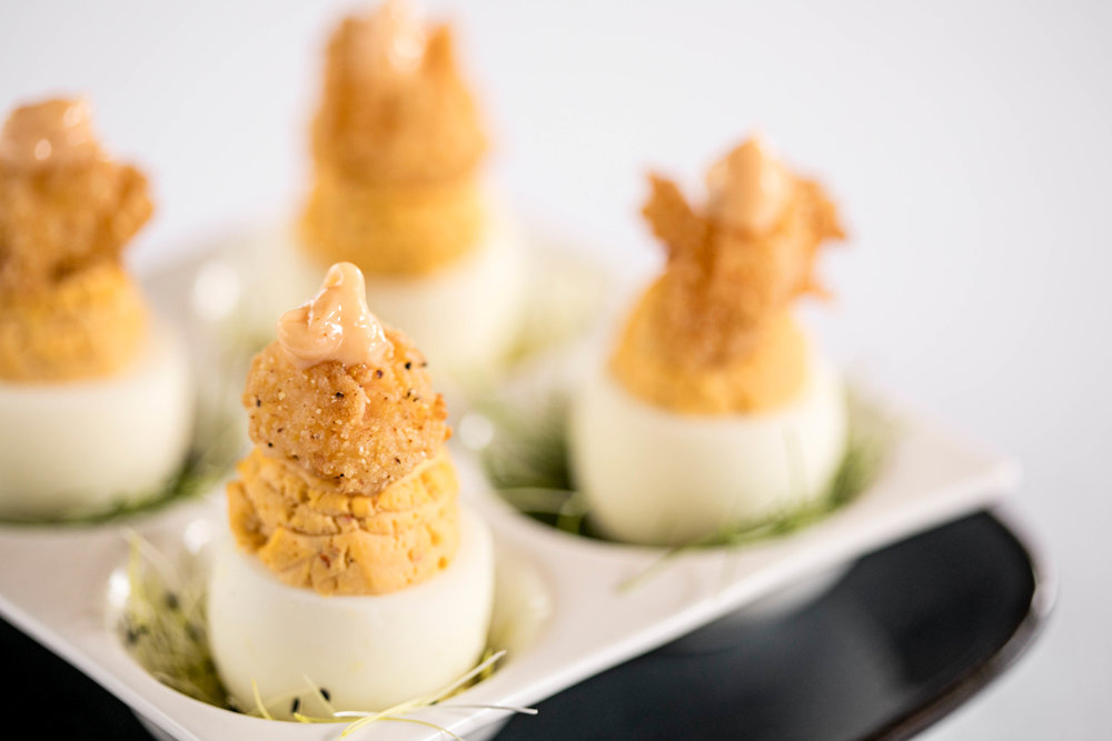 Country Fried Shrimp Deviled Eggs