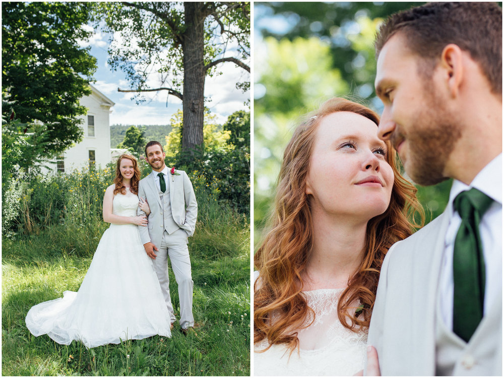 Bride and groom portraits in Vermont