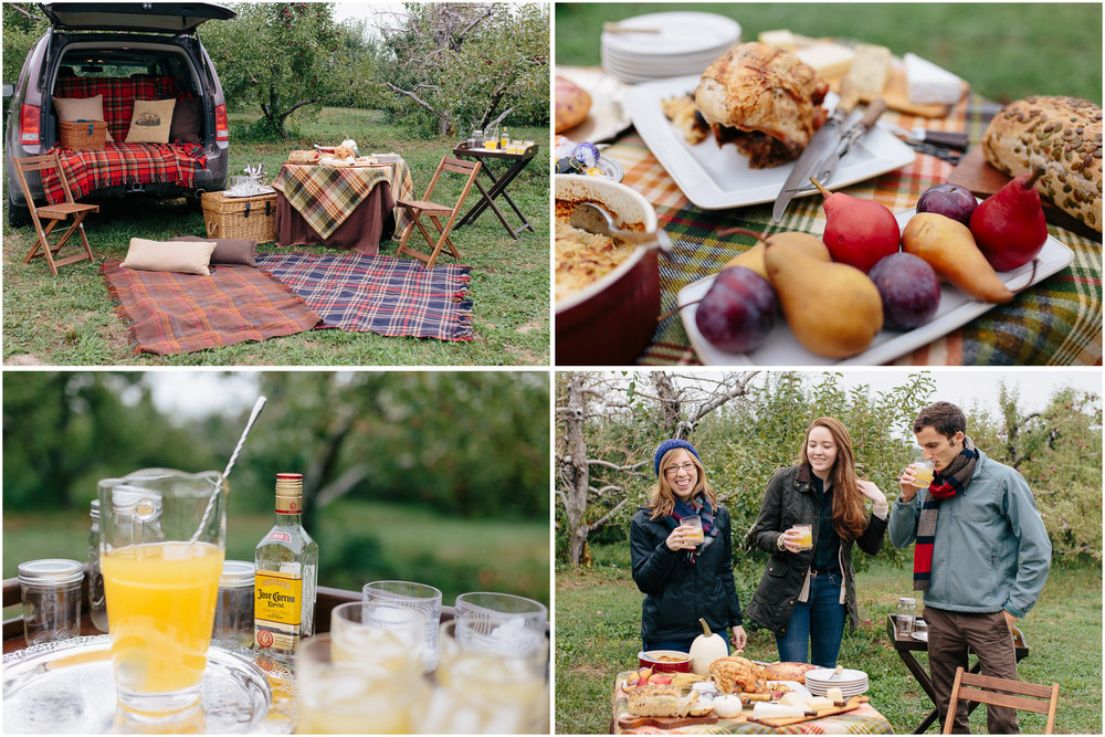 Tailgating, friends, food, photos, pictures, apples, pears, drinks, tequila, orchard, picnic