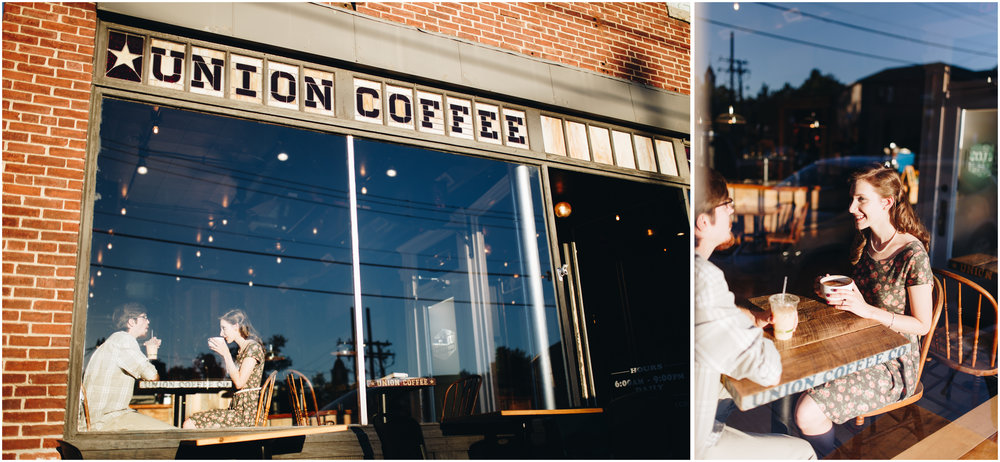 Coffee shop engagement photography in Milford, New Hampshire