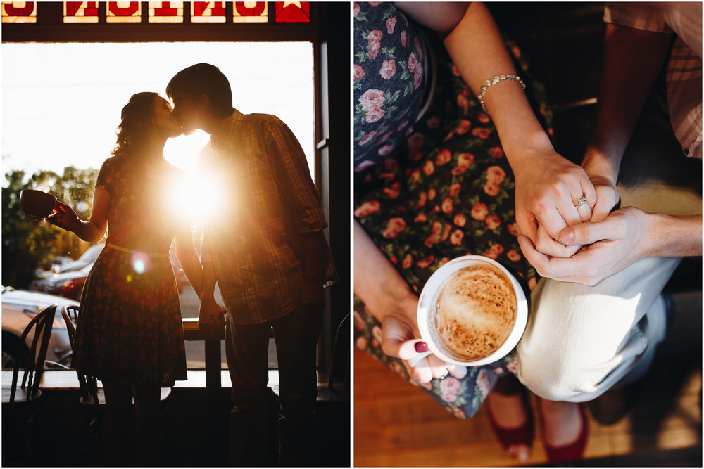 Coffee latte shop engagement photography in Milford, New Hampshire