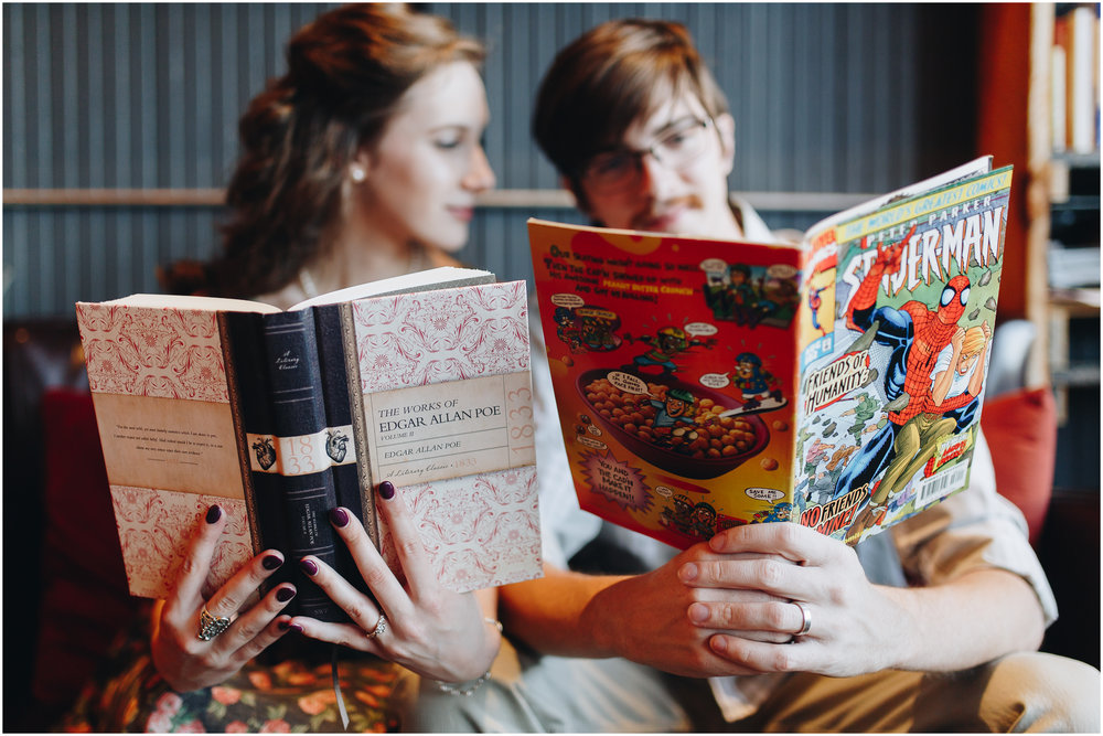 Coffee shop bookstore comic books engagement photography in Milford, New Hampshire