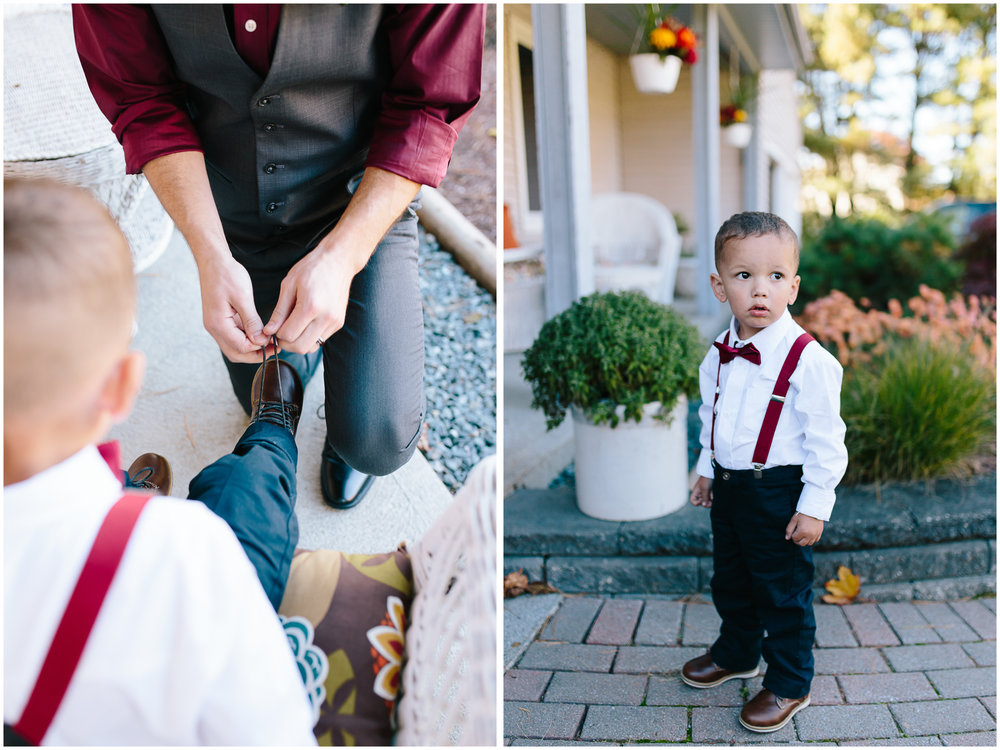 Ashleigh Laureen Photography Journalistic Fall Wedding in Hooksett, New Hampshire, Cute Ringbearer
