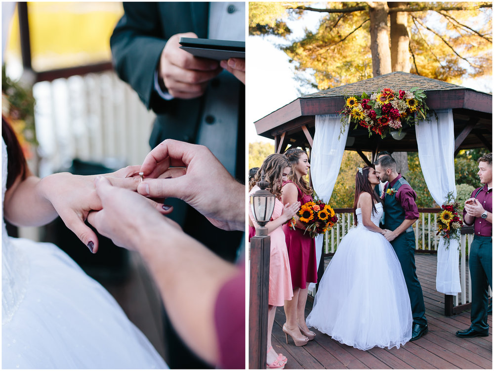 Ashleigh Laureen Photography Journalistic Fall Wedding in Hooksett, New Hampshire, Bride and Groom Kiss