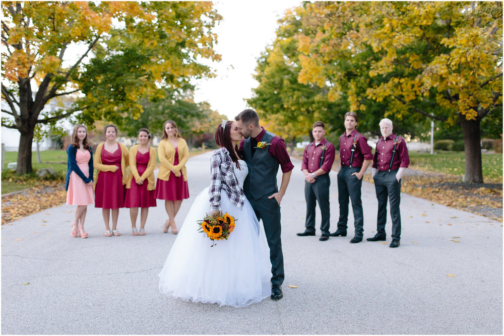 Ashleigh Laureen Photography Journalistic Fall Wedding in Hooksett, New Hampshire, Bride and Groom and Wedding Party