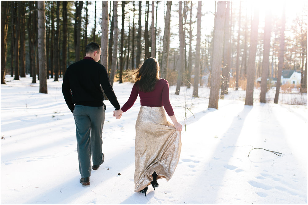 Classy winter lifestyle engagement at Rollins Park in Concord, New Hampshire