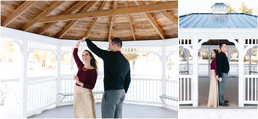 Classy winter engagement at Rollins Park in Concord, New Hampshire, Gazebo Dance and Twirl