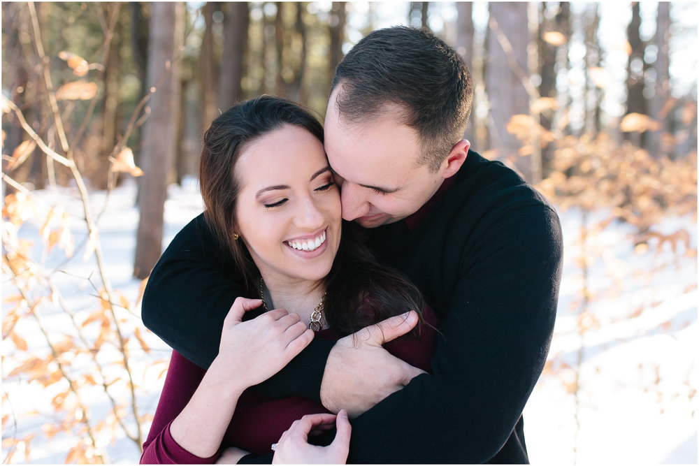 Classy winter engagement at Rollins Park in Concord, New Hampshire