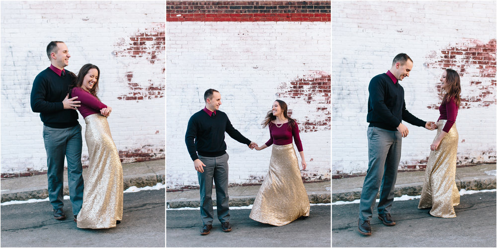 Classy winter engagement in downtown Concord, New Hampshire, Dancing and Twirling Lifestyle