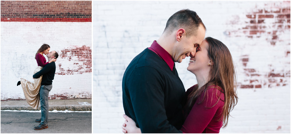 Classy winter engagement in downtown Concord, New Hampshire, Laughter