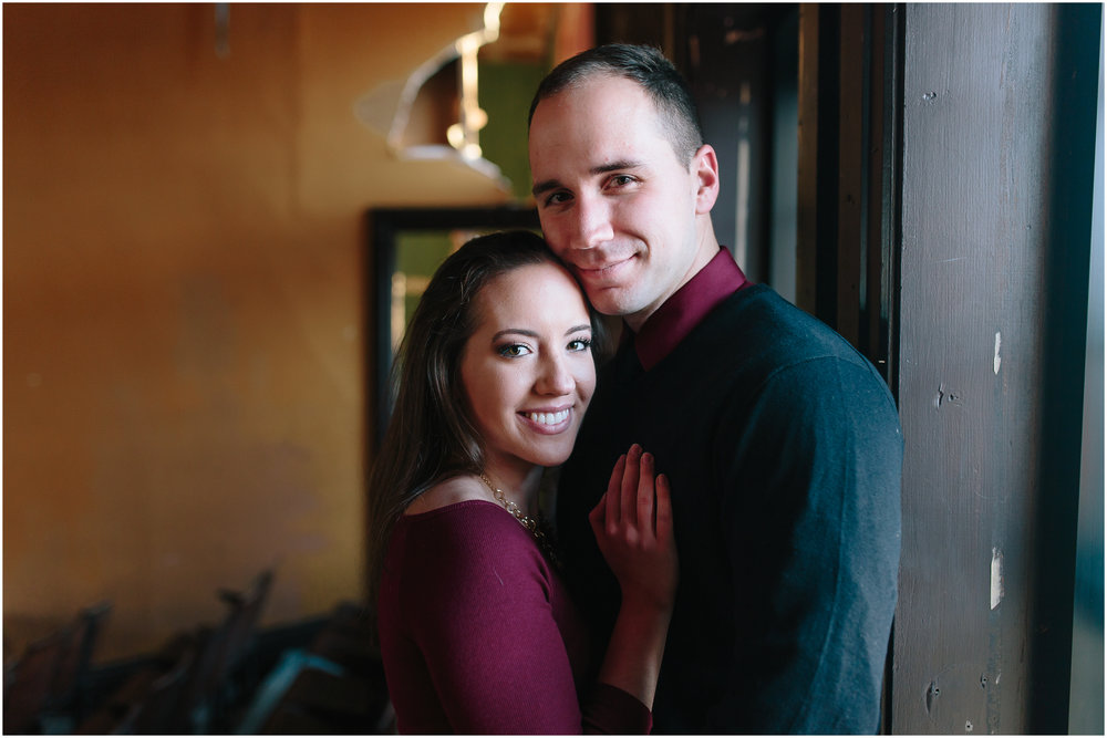 Classy winter engagement in downtown Concord, New Hampshire, Phenix Hall