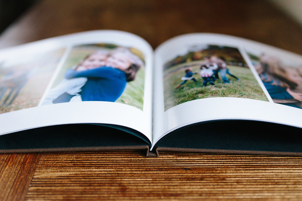 Family and Lifestyle photography in a keepsake coffee table hardcover book album in New Hampshire