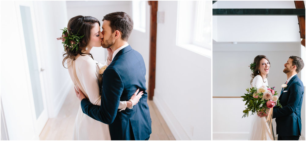 Intimate and romantic styled wedding photography in Lee, Massachusetts in the Berkshires - bride and groom kissing and laughing