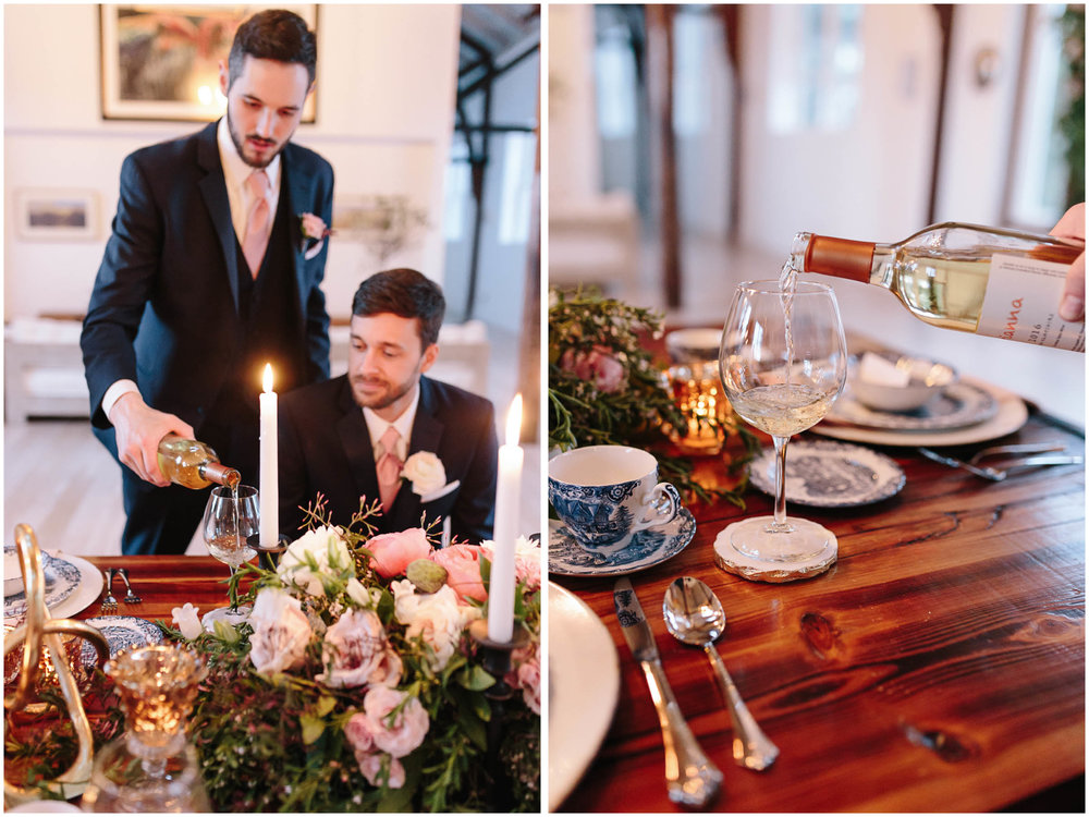 Intimate and romantic styled wedding photography in Lee, Massachusetts in the Berkshires - wedding party, groom and best man, wine