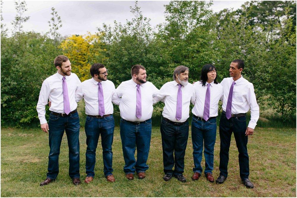 Charming Massachusetts countryside journalistic wedding by Ashleigh Laureen Photography - groom and groomsmen