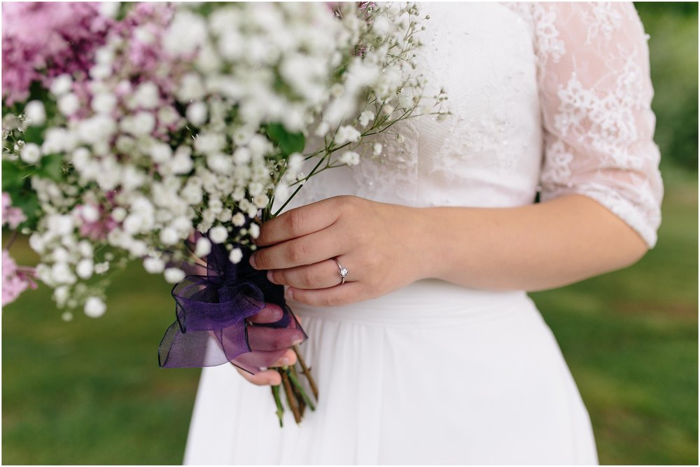 Charming Massachusetts countryside journalistic wedding by Ashleigh Laureen Photography - bride, ring, bouquet