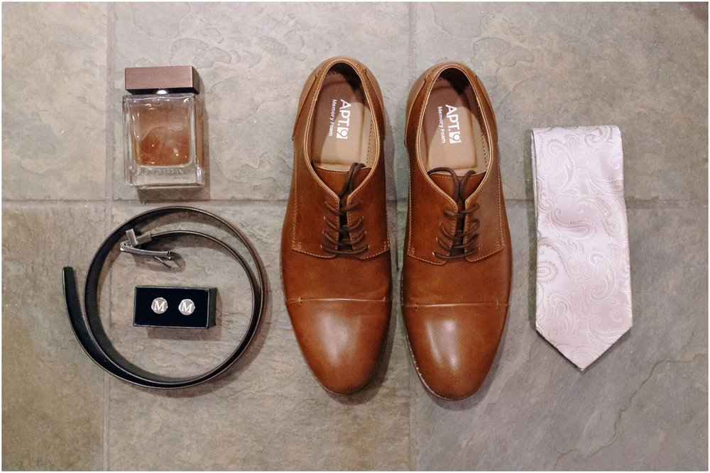 Scenic New Hampshire Wedding at Atkinson Resort and Country Club - Groom's shoes, belt, cufflinks, cologne, and tie