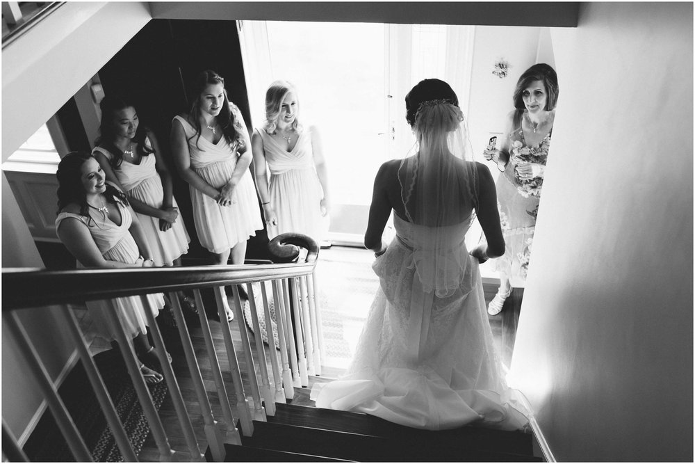Sunny New Hampshire Summer Wedding at Mile Away Restaurant - bridesmaids surprised