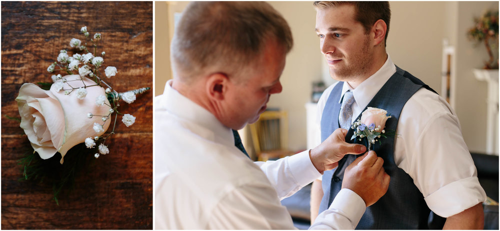 Sunny New Hampshire Summer Wedding at Mile Away Restaurant - father of the groom and boutonniere