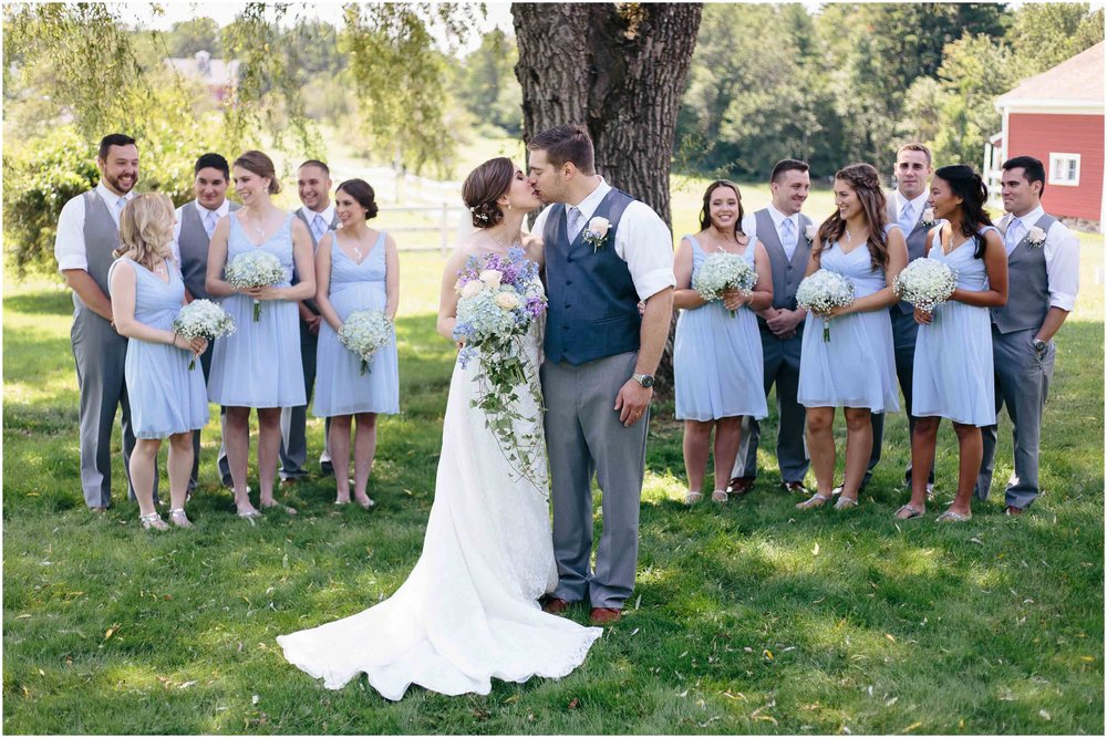 Sunny New Hampshire Summer Wedding at Mile Away Restaurant - bride and groom and wedding party